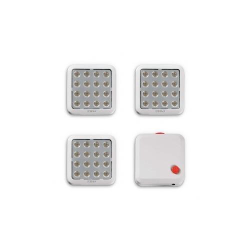 3 CARRES LED QOD KIT COMPLET 3x3,5W BLANC