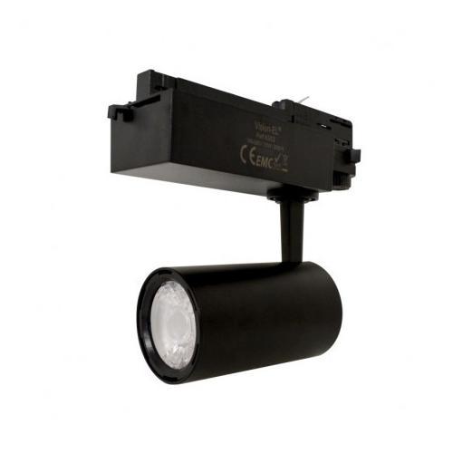 Spot LED sur Rail Noir 25W 3000K 2200 LM + adaptateur rail 3 allumages