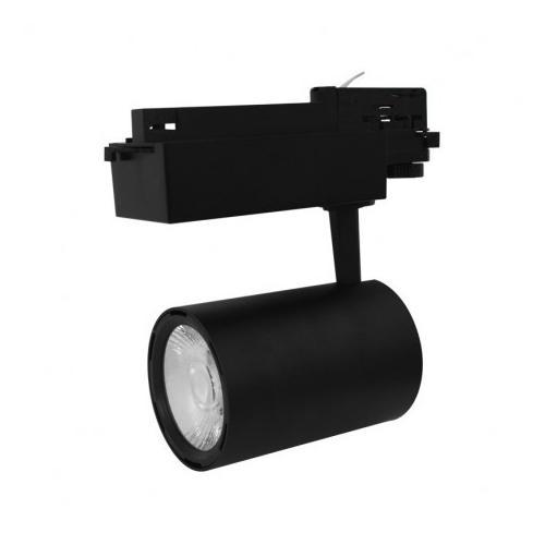 Spot LED sur Rail Noir 25W 4000K 2300 LM + adaptateur rail 3 allumages
